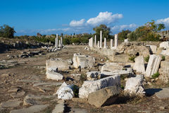 Ancient greek city ruins in Side, Turkey Stock Images