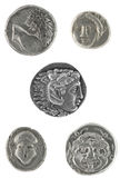 Ancient Greek Coins. Isolated in white Royalty Free Stock Images