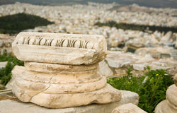 Ancient Greek column capital at Akropolis Stock Images