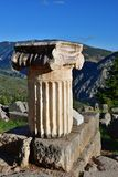 The ancient Greek column in Delphi, Greece royalty free stock image