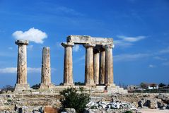 Ancient greek columns. At an archaelogical site in Corinth, Greece Royalty Free Stock Image