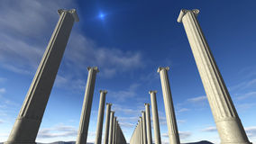 Ancient greek columns in a row. A 3D rendered image of ancient greek columns. You see white marble pillars build in a row. A sunny blue sky at the background stock illustration