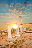 Ancient Greek columns at sunset Royalty Free Stock Image