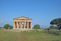 Ancient Greek columns of the temple very well preserved Stock Image