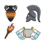 Ancient Greek culture symbols isolated cartoon illustrations set. Old vase with ornament, metal gladiators helmet, bright torch, small golden harp and theatre Stock Photography
