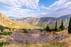 Ancient Greek Delphi Amphitheatre overlooking the mountains Royalty Free Stock Images