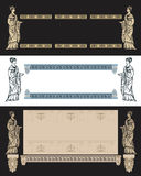 Ancient Greek design vector. Set of fine decorative frames with ancient Greek woman Royalty Free Stock Photos