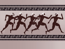 Ancient Greek figure. Sportsmen runners in a vector Stock Images