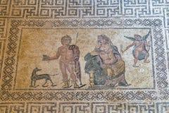 Ancient Greek floor mosaic in archaeologic park Kato Paphos, Cyprus. Stock Photos