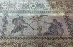 Ancient Greek floor mosaic in archaeologic park Kato Paphos, Cyprus. Stock Photo