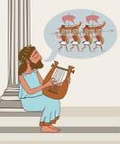 Ancient greek folklore cartoon. Ancient greek folklore, vector cartoon illustration of bard telling the legend royalty free illustration