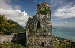 Ancient greek fortress in mountains. Anokapia, city of New Afon, Abkhazia Royalty Free Stock Photography