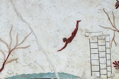 Ancient Greek Fresco: Diver's Tomb, Paestum. Data: 2015-06-06 Stock Image