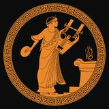 Ancient Greek god . Ancient Greek god of marriage Hymen with a musical instrument in his hands. Drawing on the vase on a black background Royalty Free Stock Images