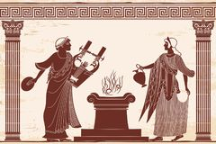 Ancient Greek goddess Aphrodite. Ancient Greek goddess Aphrodite with a pitcher and god of marriage Hymen with a musical instrument. Drawing on white background royalty free illustration