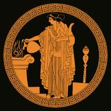 Ancient Greek goddess Aphrodite. Ancient Greek goddess Aphrodite with a pitcher in her hands. Drawing on the vase on a black background Royalty Free Stock Images