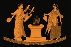 Ancient Greek goddess Aphrodite. Ancient Greek goddess Aphrodite with a pitcher and god of marriage Hymen with a musical instrument. Drawing isolated on black stock illustration
