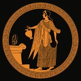 Ancient Greek goddess Aphrodite. Ancient Greek goddess Aphrodite with a pitcher in her hands. Drawing on the vase on a black background Royalty Free Stock Photos