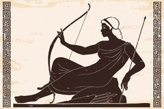 Ancient Greek drawing. Ancient Greek goddess Artemis with a bow and arrows is in the tunic. Drawing on a beige paryrus with the aging effect stock illustration