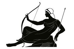 Ancient Greek drawing. Ancient Greek goddess Artemis with a bow and arrows is in the tunic. Drawing isolated on white background Stock Image