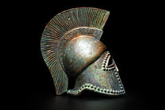 Ancient Greek Helmet on Black Royalty Free Stock Photography