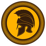Ancient Greek Helmet with a Crest on the Shield on a White Backg Stock Images