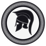 Ancient Greek Helmet with a Crest on the Shield on a White Backg. Round. Silhouette Spartan Helmet. Vector Roman Helmet stock illustration