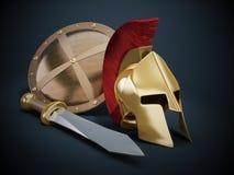 Ancient Greek helmet, shield and sword Royalty Free Stock Image