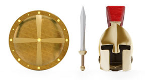 Ancient Greek helmet, shield and sword. On white background Royalty Free Stock Photo