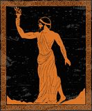 Ancient Greek hero. Ancient Greek hero Prometheus in a tunic with a fiery torch in his hand royalty free illustration
