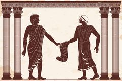 Ancient Greek justice. Two men are talking in ancient Greek court with papyrus in their hands. Figure on a beige background with the aging effect vector illustration