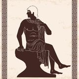 Ancient Greek man. Ancient Greek man sits on a rock and looks away. Vector Brown pattern on a beige background with the aging effect stylized as an antique Stock Photography
