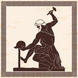 Ancient Greek man blacksmith. royalty free illustration