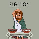 Ancient greek man chooses who to vote for. Ancient greek man chooses who or what to vote for, funny cartoon vector illustration of democracy origins royalty free illustration