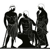 Ancient Greek man. Mythological story. Three ancient Greek mans stands with a staff and a paryrus in the arms and talks. Vector image stylized as an antique Royalty Free Stock Image