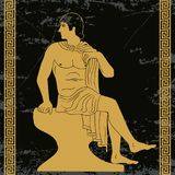 Ancient Greek man. Ancient Greek man sits on a rock and looks away. Vector gold pattern on a black background with the aging effect stylized as an antique Stock Photography