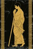 Ancient Greek man. Ancient Greek man stands in profile with a staff and a paryrus in the arms. Vector image stylized as an antique painting Stock Images