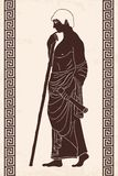 Ancient Greek man. Ancient Greek man stands in profile with a staff and a paryrus in the arms. Vector image stylized as an antique painting Stock Photography