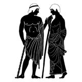 Ancient Greek man. Two ancient Greek mans stands with a staff and a paryrus in the arms and talks. Vector image stylized as an antique painting Royalty Free Stock Photography