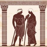 Ancient Greek man. Two ancient Greek mans stands with a staff and a paryrus in the arms in the temple between the columns and talks. Vector image stylized as an Royalty Free Stock Photos