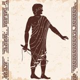 Ancient Greek men. Ancient Greek man with a whip in his hand. Manager at the household yard. Figure on a beige background with the aging effect royalty free illustration