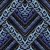 Ancient greek meanders seamless pattern. Vector abstract backgro. Und. Modern 3d wallpaper. Geometric shapes, zigzag, waves, stripes, lines, greek key ornaments Stock Photo