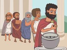Ancient greek men conversation [Converted. Public voting in Ancient Greece by placing pebbles in urn, funny cartoon vector illustration of democracy origins vector illustration