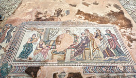 Ancient Greek mosaic in Paphos Archaeological Park at Cyprus Stock Photo