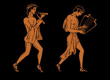 Ancient Greek musicians. Stock Image