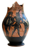 Ancient greek ornamented vessel. Pottery Stock Photo