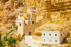 Ancient Greek convent on the rock Royalty Free Stock Photos