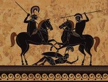 Ancient greek painting .Ancient greece warrior. Ancient greece warrior. Black figure pottery.Sparta.Ancient civilization culture. Mediterranean culture.Deities stock illustration