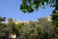 The Ancient Greek Parthenon, Acropolis, Athens, Greece. The Doric marble pillars on the Parthenon, Temple of Athena, on the Acropolis, Athens, Greece. View from Stock Photography
