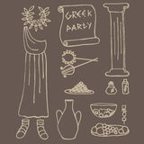 Ancient greek party ideas, Greece elements Royalty Free Stock Photo